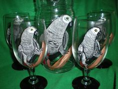 Hand painted Pitcher and ice tea set in African Gray Parrots.. $30.00, via Etsy.