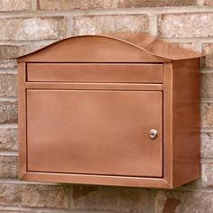 Kenton Locking Wall-Mount Copper Mailbox - Antique Copper