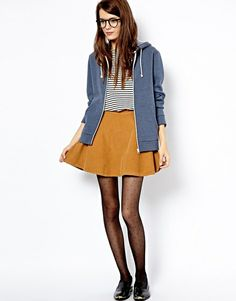 Asos American Apparel Corduroy Skater Skirt in Yellow (Camel) - Lyst