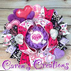 Valentine's day, Valentine, stacked boutique bow, hair bow, love, over the top, hearts, girls hair accessories