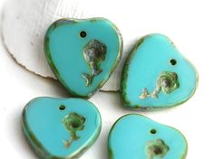 4pc Turquoise Green Heart beads with flower, Picasso Czech glass top drilled beads, 17mm - 3013 by MayaHoney on Etsy