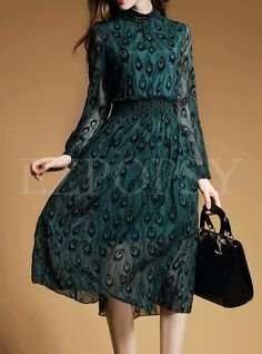 Shop for high quality Green Stand Collar Print Dress online at cheap prices and discover fashion at Ezpopsy.com
