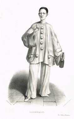 DEBUREAU - Jean-Gaspard Deburau (31/07/1796 - 17/06/1846) - mime franco-bohémien du Théâtre des Funanbules - créateur de Pierrot - d'après Alexandre Lacauchie - 1841 - MAS Estampes Anciennes - Antique Prints