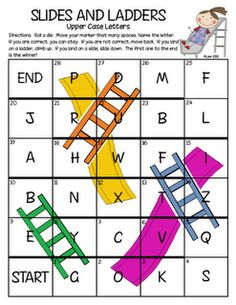 """Slides and Ladders"" Letter Naming Game-Variation on Chutes and Ladders...could easily be re-purposed from an old game board too!"