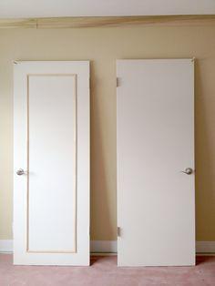 Lindsay & Drew: Add Trim to a Solid Panel Door Door Redo, Door Makeover, Diy Door, Home Renovation, Home Remodeling, Diy Interior Doors, Solid Doors, Panel Doors, Decoration