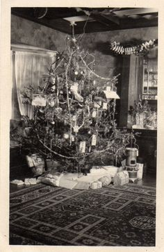 Photo Vintage Old Time Christmas Tree Pretty Antique Stove Under Tree Presents | eBay