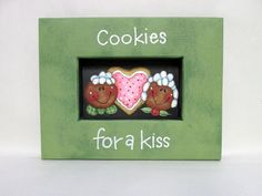Cookies for a Kiss Sign, Gingerbread Cookies, Sugar Cookies, Christmas Cookies, Tole or Hand Painted on Black Screen, Reclaimed Wood Frame by barbsheartstrokes on Etsy