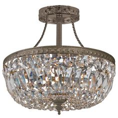 Traditional Crystal Antique Brass Semi-Flush Ceiling Mount #laylagrayce #lighting #chandy