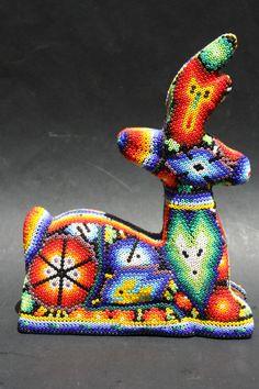 Huichol Art Seed Bead Art, Seed Beads, Peyote Patterns, Beadwork, Beading, Reindeer, Dinosaur Stuffed Animal, Moose, Mexican