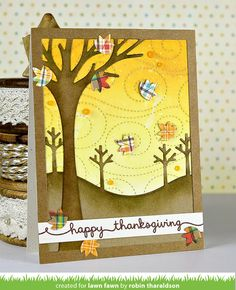 the Lawn Fawn blog: A Breezy Thanksgiving Card by Robin + Class Announcement!