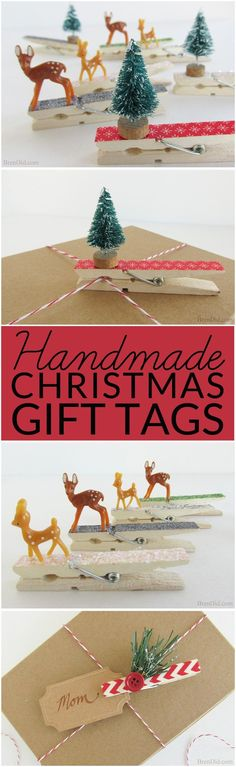 Pinning to make for gifts. Adorable Homemade Christmas Gift Tags: This easy clothespin craft use leftover craft supplies to liven up holiday gifts.