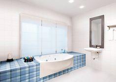 Kassel Blanco 13x36 (wall tile) #HDC Bathtub Surround, Porcelain Tile, Corner Bathtub, Wall Tiles, Alcove, Baths, Shower, Bathroom, Beautiful