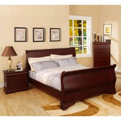 Furniture of America Bravo Dark Cherry Finish 4-piece Queen-size Bed Set