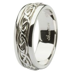 This gorgeous Silver Celtic Knot Wedding Ring is the perfect match for any Celtic lady's ring. The excellent sterling silver band is embroidered with the classic knot work design, a historic symbol of love in Celtic culture. Wedding Rings Simple, Custom Wedding Rings, Beautiful Wedding Rings, Gold Wedding Rings, Wedding Jewelry, Silver Rings, Trendy Wedding, Silver Jewelry, Bridal Jewellery