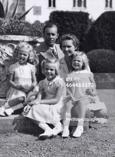 Prince Gustaf Adolf (1906-1947) with his wife, Princess Sibylla (1908-1972), and their three eldest daughters, Princesses Birgitta, Margaretha and Desiree