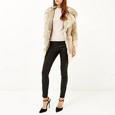 Cream colour block faux fur winter coat