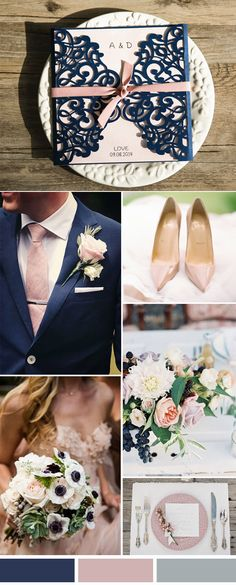 navy blue and blush chic rustic wedding colors and laser cut wedding invitations