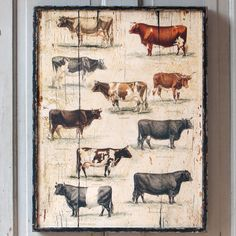 Test your cow knowledge. How many of these breeds can you name without looking? $64. Shop P. Allen (http://shop.pallensmith.com/prints/cow-breeds-vintage-wall-art/)