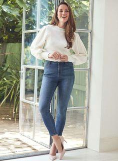 Womens Blue 'Cody' Mid Wash Skinny Jeans- Blue