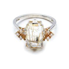 """Bea Arrow Ring,"" 14K yellow gold, rutilated quartz, champagne diamonds, $ 1,350, Anna Sheffield | http://aol.it/1KNvxg0"