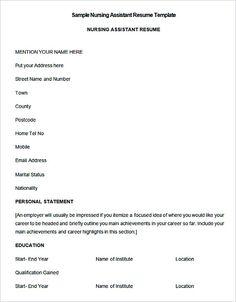 resume sample for nursing assistant