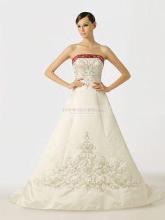 Rosabelle - stile principessa senza spalline abito da sposa in raso con ricami