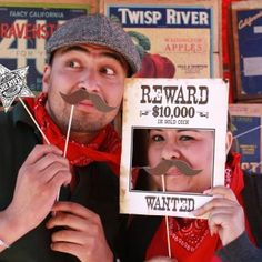 Photo booth props for a Wild West party. Would be great for spring carnival!