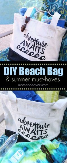 DIY Beach Bag with summer must-haves, includes free cut file download! This cute beach bag is perfect for your summer travels and adventures!
