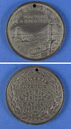 Souvenir of the Opening of the East River Bridge, May 24, 1883. Now known as the Brooklyn Bridge.