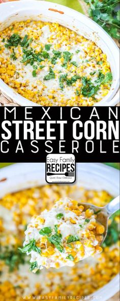 LOVE THS Our FAVORITE Mexican Street Corn Casserole Easy side dish for dinner potluck or neighborhood BBQ easyfamilyrecipes sidedish corn easyrecipe sides Potluck Dishes, Dinner Dishes, Food Dishes, Food For Potluck, Recipes For Potluck, Easy Potluck Side Dishes, Potluck Meals, Weeknight Meals, Recipes Dinner