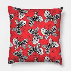 Doodle butterflies pattern #teepublic #print #homedecor #pillow #butterflypattern