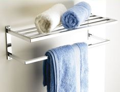 Hotel-Style Towel Shelf at STORE. You asked for it so we found one! Our hotel-style towel shelf will fit neatly at the e. Diy Bathroom Mirror Cabinets, Bathroom Shelves For Towels, Towel Shelf, Towel Rack Bathroom, Towel Storage, Bathroom Sink Vanity, Bathroom Storage, Towel Racks, Hall Bathroom