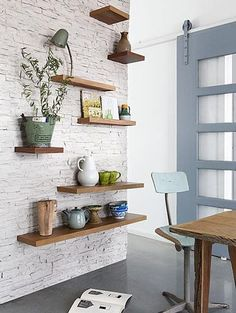 3 Efficient Clever Ideas: Floating Shelves Bathroom Built Ins floating shelves kitchen fridge.Floating Shelves With Pictures metal floating shelves small spaces.Floating Shelf How To Book Shelves. Floating Shelves Bathroom, Glass Shelves, Wooden Shelves, Rustic Shelves, Floating Cube Shelves, Wood Shelf, Sweet Home, White Brick Walls, White Bricks