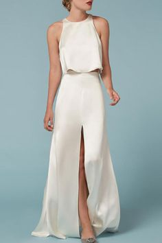 $588 BUY NOW Fans of Reformation's flirty dresses will be thrilled to know they make wedding dresses, too. This design is actually made from two pieces, and channels old Hollywood glam with flowing white satin.