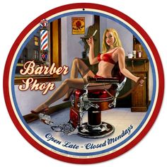 This vintage Barber Shop pin-up girl metal sign will be easy on your customers eyes displayed in your barber shop. Handmade in the U.S.A.. Nostalgic home decor reproduction. Great gift idea. - Your Retro Store Since 2002 - Jackandfriends.com
