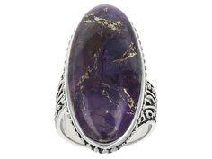 Southwest Style By Jtv(Tm) Oval Cabochon Purple Turquoise Sterling Sil
