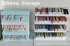 Ribbon Storage via @Leanne Jacobs of Organizing and Decorate Everything!
