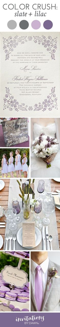 Slate and Lilac Wedding Colors. Perfect color palette for a vintage meets rustic style wedding.