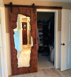 Live edge wood mirror barn door Source by Wood Mirror, Diy Mirror, Mirror Ideas, Mirror Vanity, Deco France, Live Edge Wood, The Doors, Entry Doors, Sliding Doors