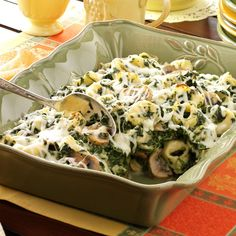 Tortellini Spinach Casserole Recipe from Taste of Home -- shared by Barbara Kellen, Antioch, Illinois I'm pretty sure Stella will refuse to eat this, but I'm going to make it anyway. Spinach Casserole, Casserole Recipes, Pierogi Casserole, Spinach Bake, Mushroom Casserole, Spinach Lasagna, Frozen Spinach, Mushroom Lasagna, Hamburger Casserole