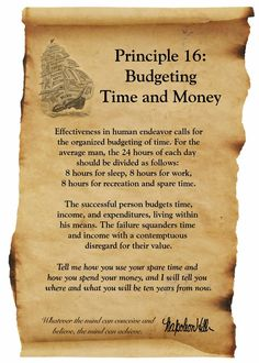 Principle 16: Budgeting Time and Money