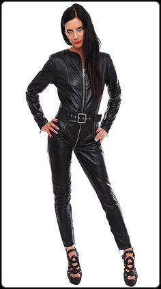 Woman Catsuit - Black with Belt 100% Genuine Leather. - Zipper 16 cm on the legs. - Zipper 16 cm on the sleeves. For Those Love to Leather. - With belt. - 100% lamb leather. - 2 way front zip till crotch to back. | eBay!