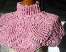 Crochet Cowl Poncho Pineapple Pattern Sublime Pink Shouldertte Capelet