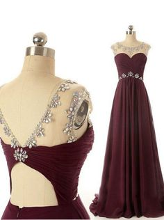 Simple Dress Handmade Beading Long Scoop Burgundy Open-back Chiffon Prom Dresses/Evening Dresses CHPD-7192