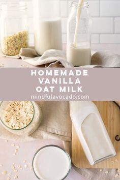 Homemade Vanilla Oat Milk - Only a few ingredients are needed to make this creamy plant-based milk recipe Perfect for adding to coffee or lattes this vegan oat milk recipe is a must try oatmilk plantbased vegan Mindful Avocado Healthy Eating Tips, Clean Eating Snacks, Healthy Drinks, How To Make Oats, Plant Based Milk, Homemade Vanilla, Vegetable Drinks, Chocolate Chip Oatmeal, Milk Tea