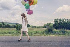Luftballons, Feier, Mädchen, Glücklich, Wandern, Straße
