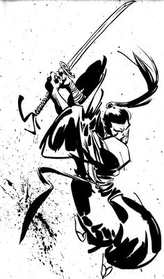 Samurai Sketch with sword swipe