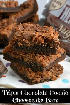 Triple Chocolate Cookies Cheesecake Bars Recipe- Soft and Chewy with a fudge cake mix cookie crust and chocolate cheesecake topped with milk chocolate crumbles. A chocolate lover's dream come true!