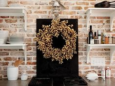 metallic gold wreath. you know we will be doing this.