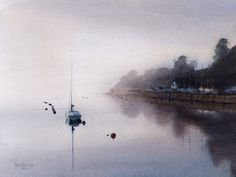 Mist over Trwyn Cae Iago, an original watercolour painting by Rob Piercy